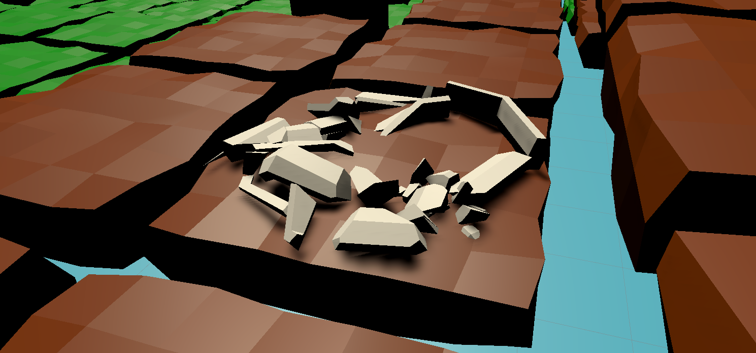 A low poly island view from the original Project 2 prototype.