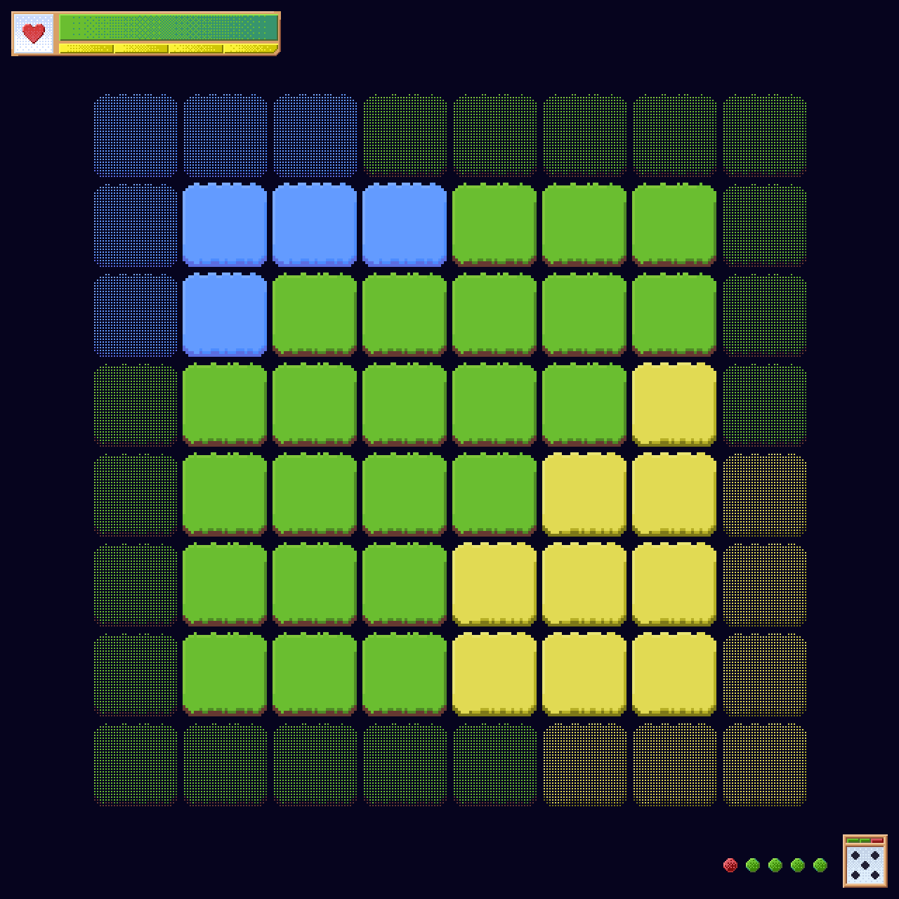 The pixel-art based tiling and UI.